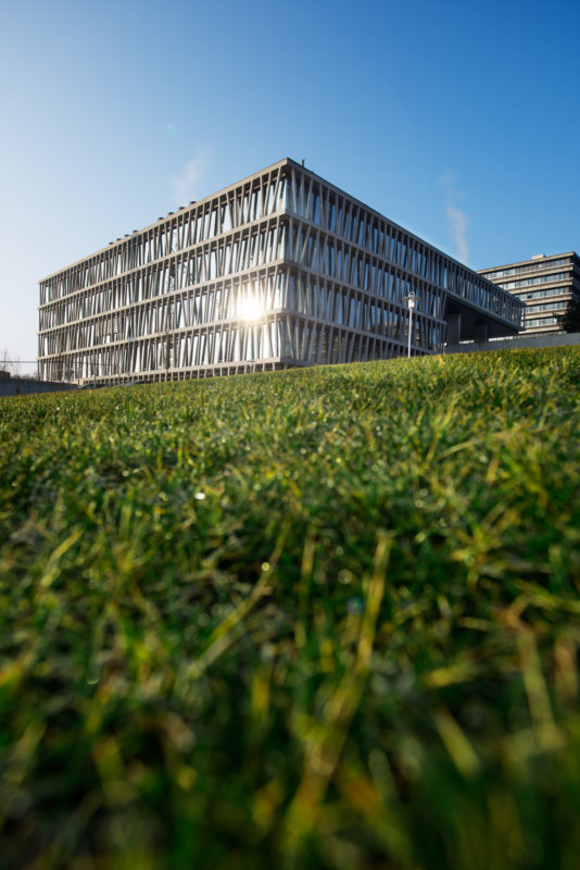 Architectural photography: General view of a modern building of a research institute with a facade of sloping concrete elements and windows down to the ground. In the foreground you can see a green meadow. Above blue sky.