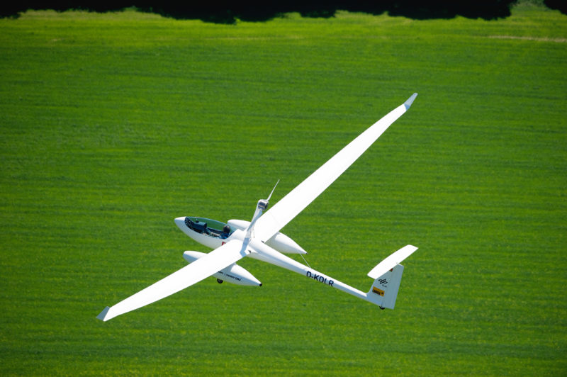 Technology photography: Technology photography and aerial photography: DLR Fuel cell aircraft in flight.
