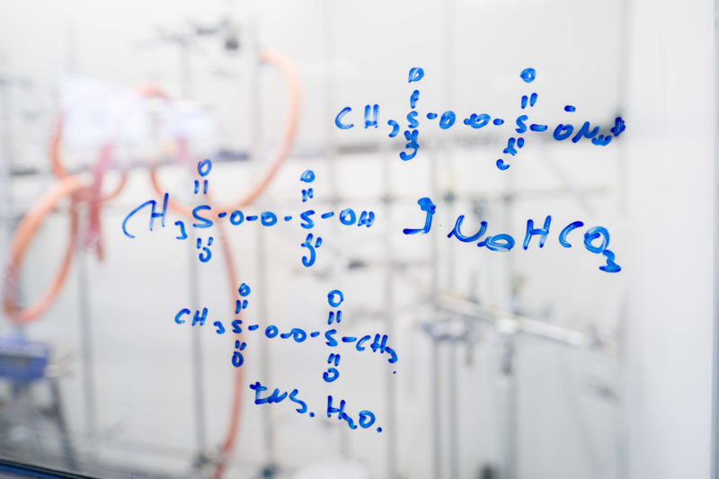 Science photography: Chemical formulas In a laboratory of Grill Werke AG in Duisburg. Here, for the first time, liquid high-purity methanesulfonic acid was obtained from methane, the main component of natural gas, which can serve as a chemical starting product for many other applications.