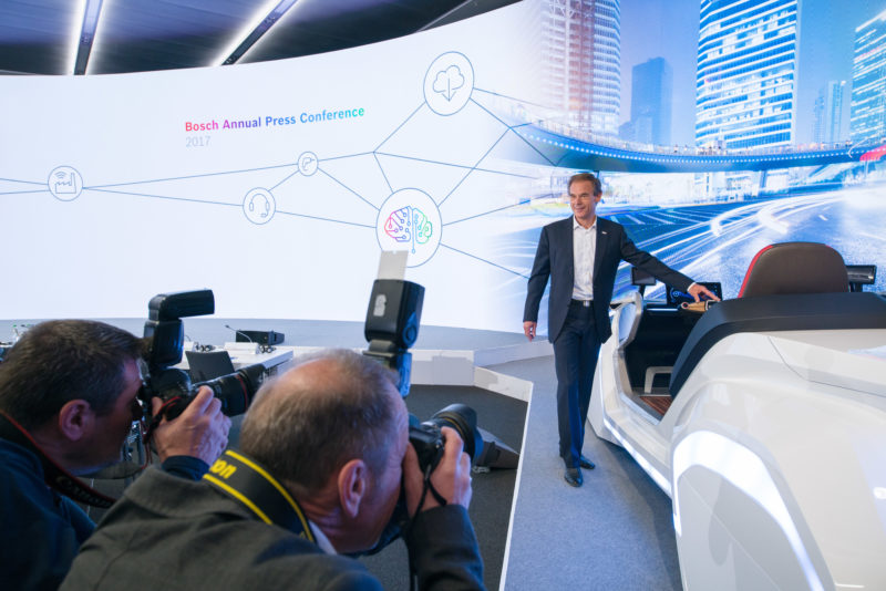Editorial photography as event photography and fair photography: Managing Director Volkmar Denner is photographed at the annual press conference of Robert Bosch GmbH.