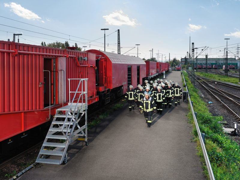 editorial photography: A squad of firefighters goes to the rescue train, which can be deployed in the event of a rail accident and is intended to facilitate operations in tunnels in particular.