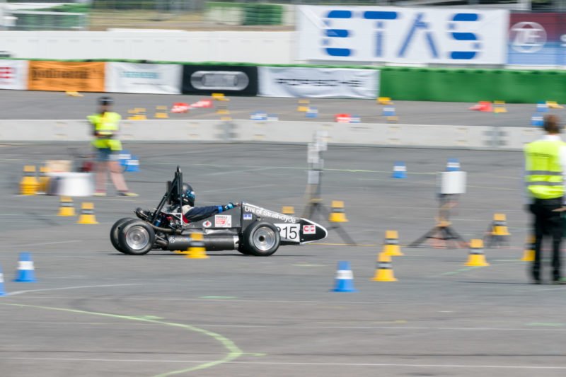 Editorial photography: Formula Student Germany: A racing car on the circuit, where its characteristics and the driver