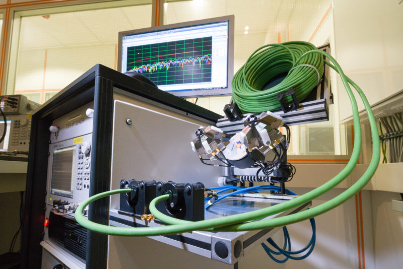 Industry photography: In a test laboratory: Here the electrical properties of an industrial cable are investigated.