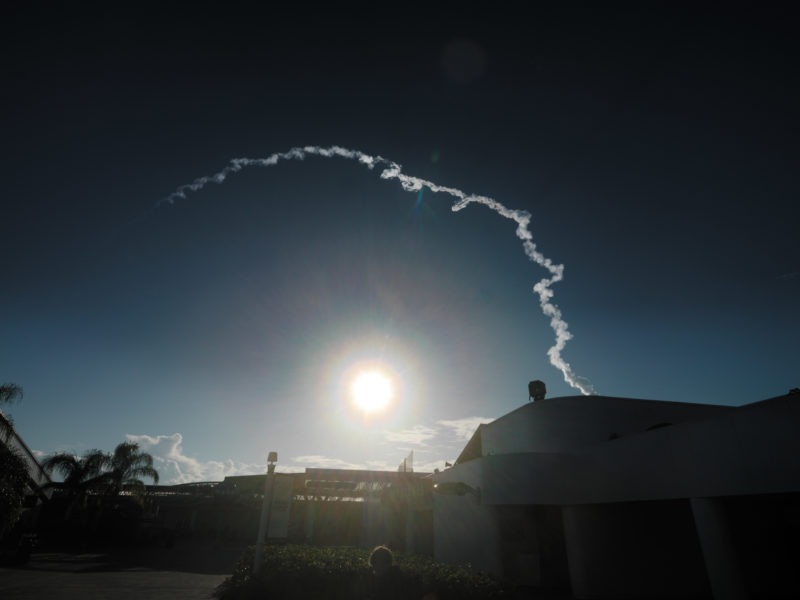 editorial photography: From the adjacent Cape Canaveral launch site military launching a missile.