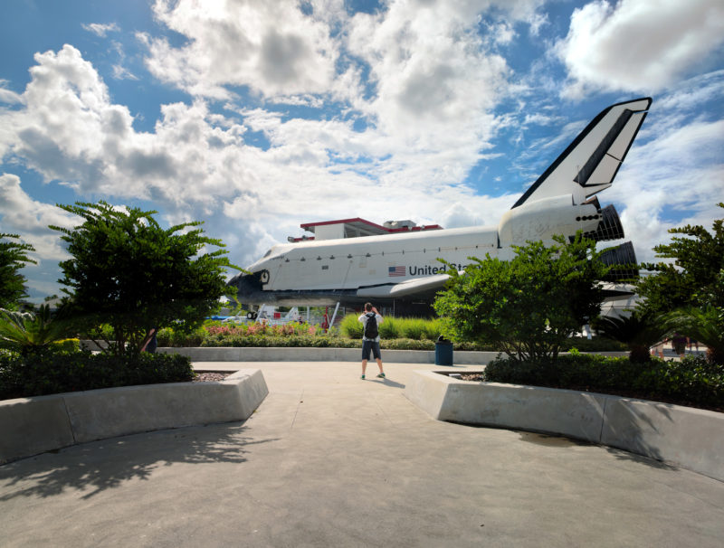 editorial photography: People can see the old Space Shuttle Explorer from the outside.