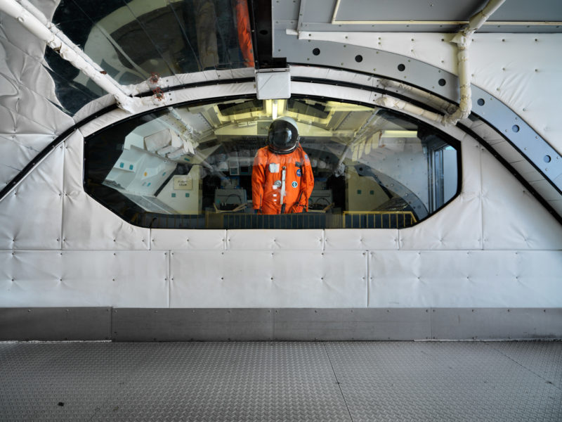editorial photography: It is easy to walk inside the replica of a Space Shuttle payload bay.