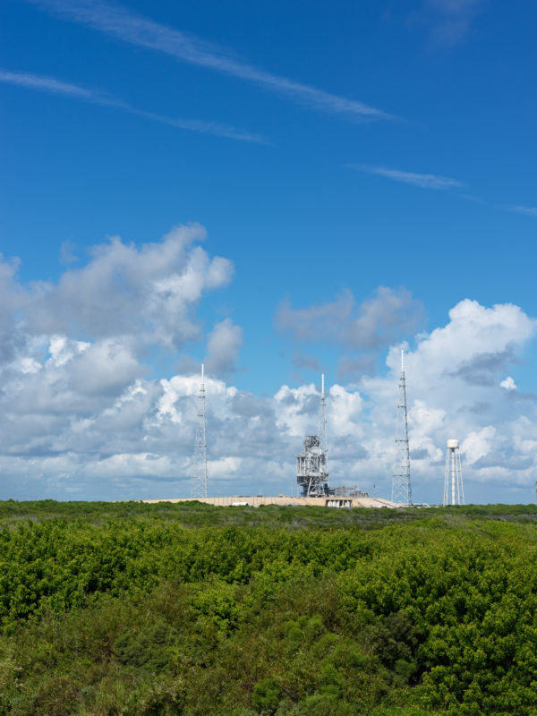 editorial photography: Empty space launch pad at the Kennedy Space Center in Florida.