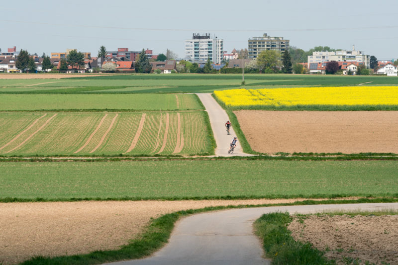 Landscape photogaphy: Typical southern German agriculture on the edge of a settlement of a medium-sized Swabian town. Cyclists make a sporty trip along the differently used fields.