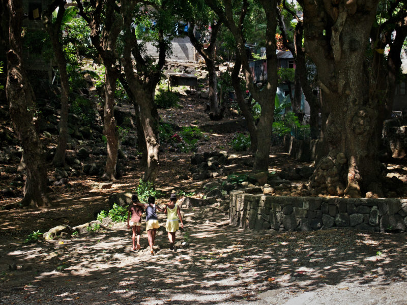 travel photography: Mauritius: Three children on their way home from the beach. They pass between large trees that cast spotted shadows on the ground.