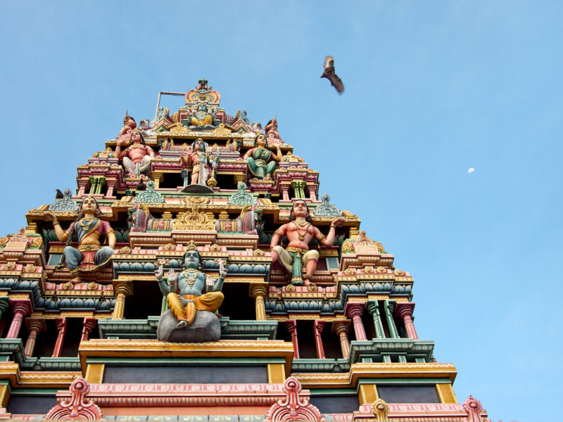 travel photography: Mauritius: Hindu temple in front of a blue sky with flying dove and crescent moon.