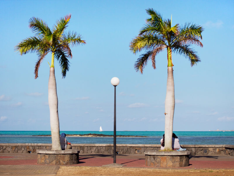 travel photography: Mauritius: At a harbour people are sitting under palm trees. In the background a sailing ship and a lighthouse far away.