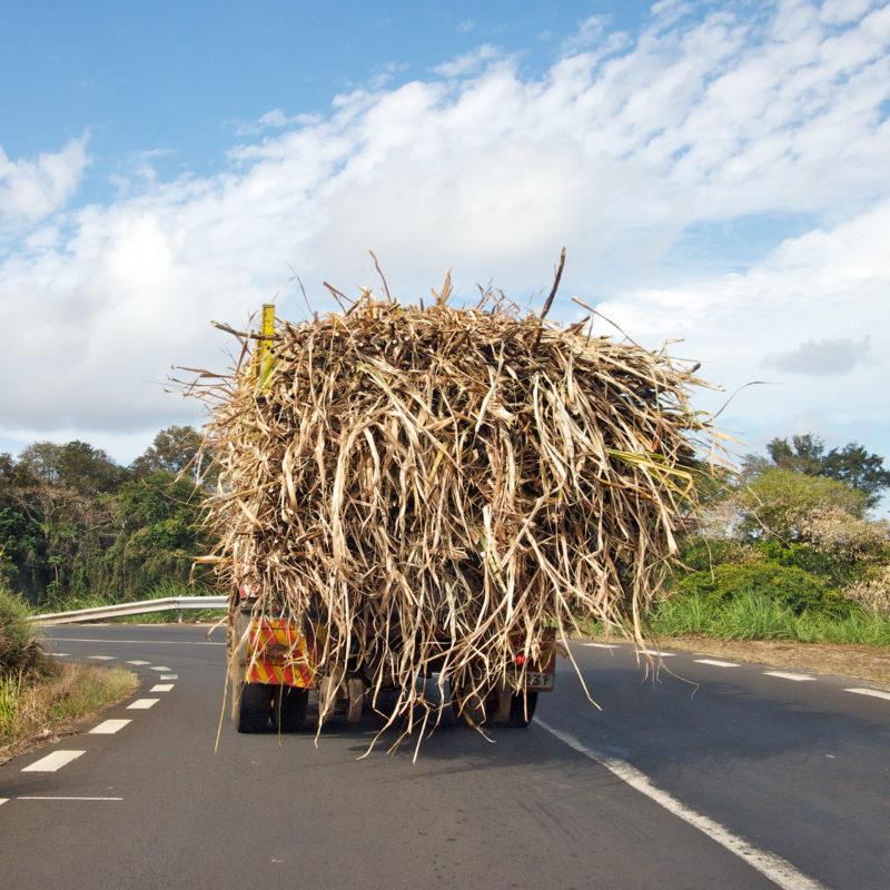 Luftaufnahmen und Drohnenfotografie: Reisefotografie: Mauritius: Ein überladener LKW transportiert geerntetes Zuckerrohr in die Fabrik.
