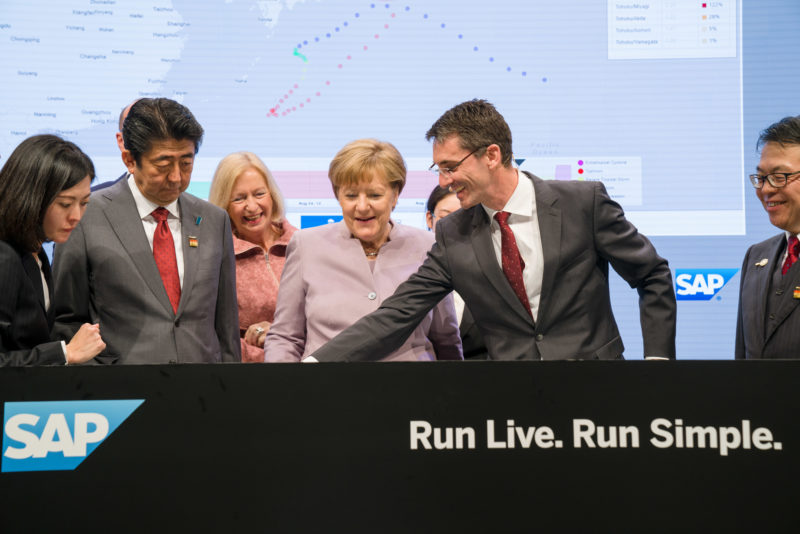Editorial photography as event photography and fair photography: German Chancellor Angela Merkel visits the SAP SE booth at the Cebit in Hanover.