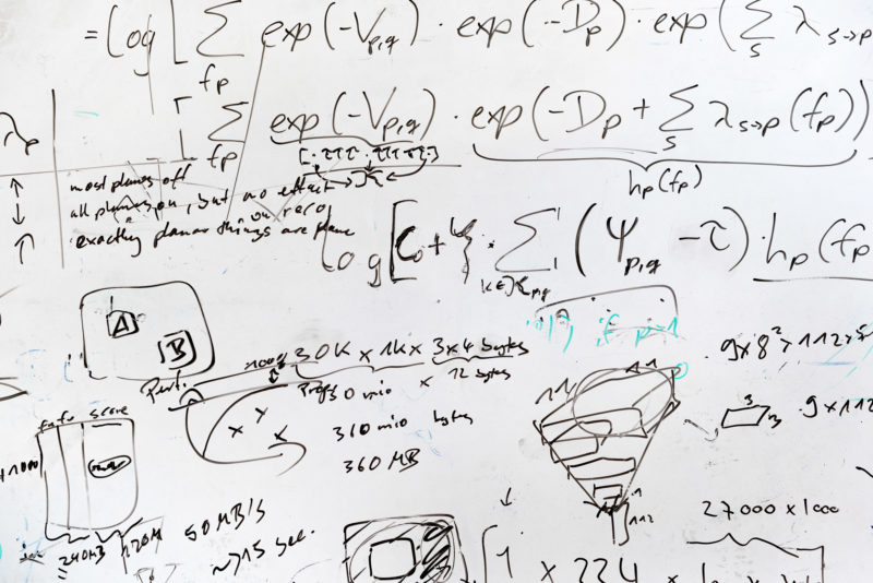 Science photography: A densely inscribed whiteboard with formulas and drawings at the Autonomous Vision Group of Prof. Andreas Geiger at the Max Planck Institute for Intelligent Systems in Tübingen, where research is being conducted into the conversion of two-dimensional camera images into three-dimensionality.