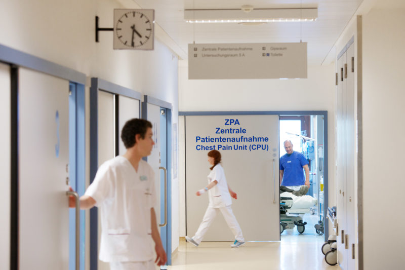 Healthcare photography: Hustle and Bustle in the corridor of the Central Patient inclusion and Chest Pain Unit at the hospital.