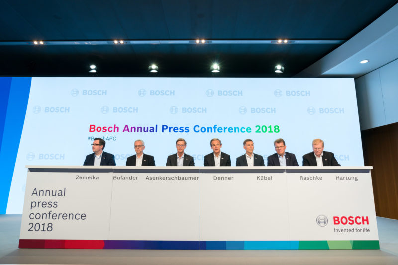 PR photography:  Press photos at the press conference of Robert Bosch GmbH: The podium with all members of the board of management.