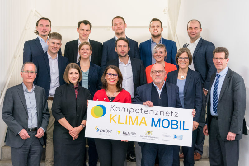 Press photos for an initiative of the Baden-Württemberg state government on the occasion of the kick-off event of the competence network CLIMATE MOBILE with Minister of Transport Winfried Hermann: A staircase in front of the event hall served for a quick group photo of all participants.