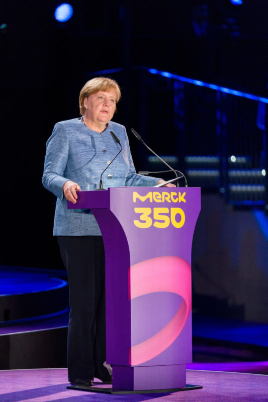 editorial photography: German Chancellor Angela Merkel at the celebration of the 350th anniversary of Merck in Darmstadt. She gives the speech.