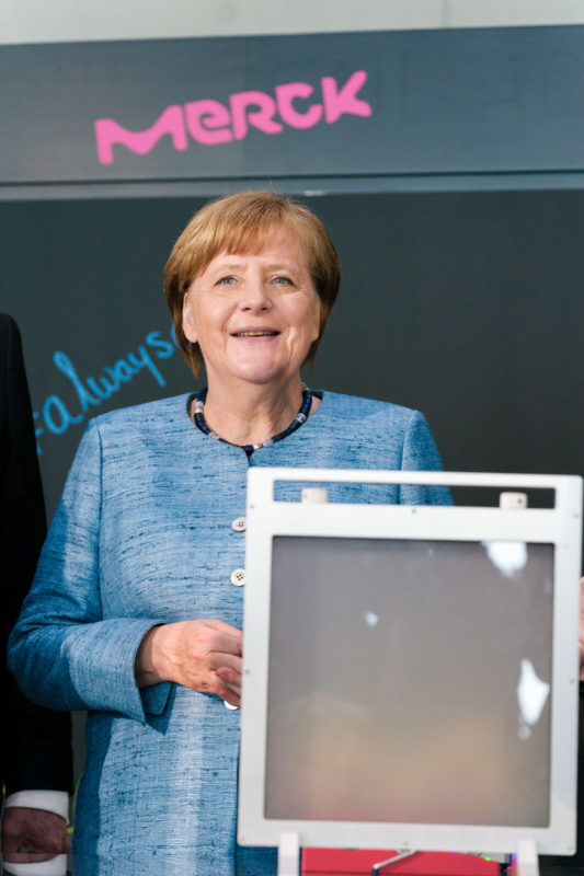 editorial photography:  German Chancellor Angela Merkel is looking forward to the celebration of the 350th anniversary of the Merck company in Darmstadt.
