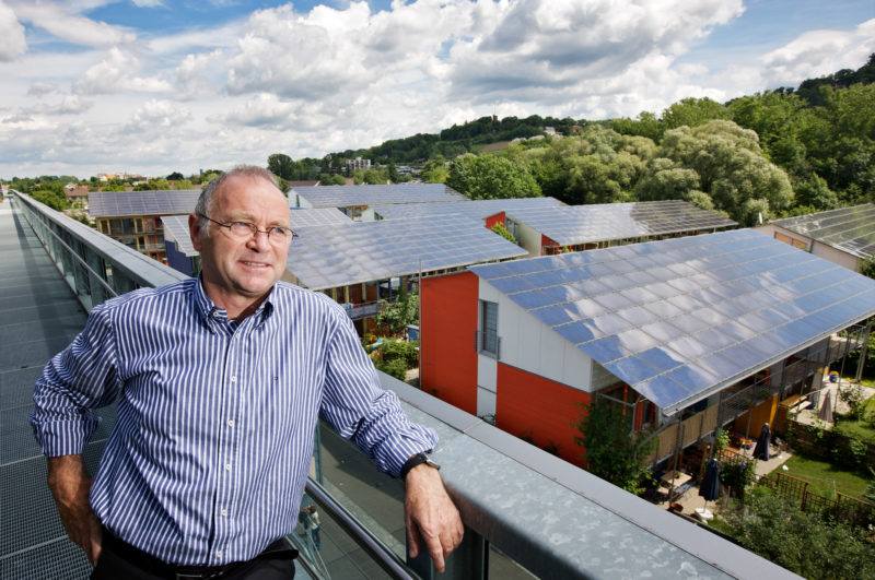 Technology photography: Solar architect Rolf Disch over the rooftops of its Solar Settlement in Freiburg.