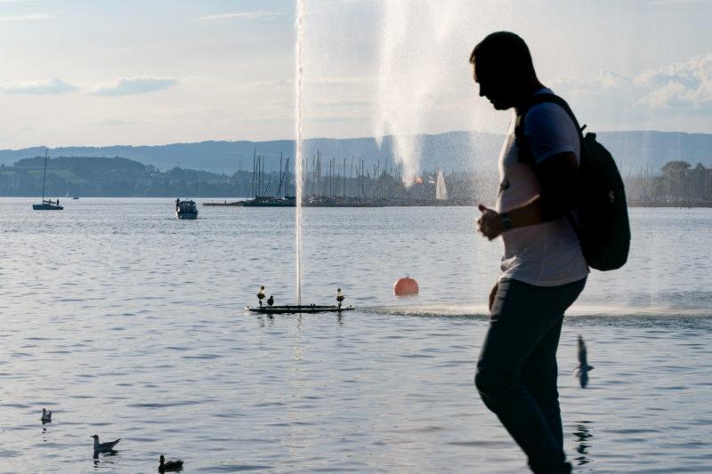 Stadtportrait: Zug am Zuger See. Eine Wasserfontaine im Zuger See. Davor die Silhouette eines Passanten und im Hintergrund der Yachthafen von Zug.