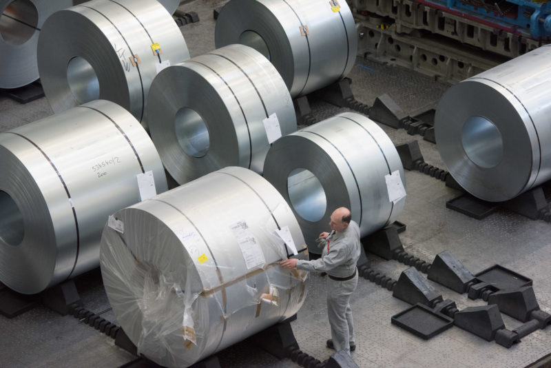 Industrial photography: Coils made of high-quality sheet steel freshly delivered to a vehicle manufacturer.