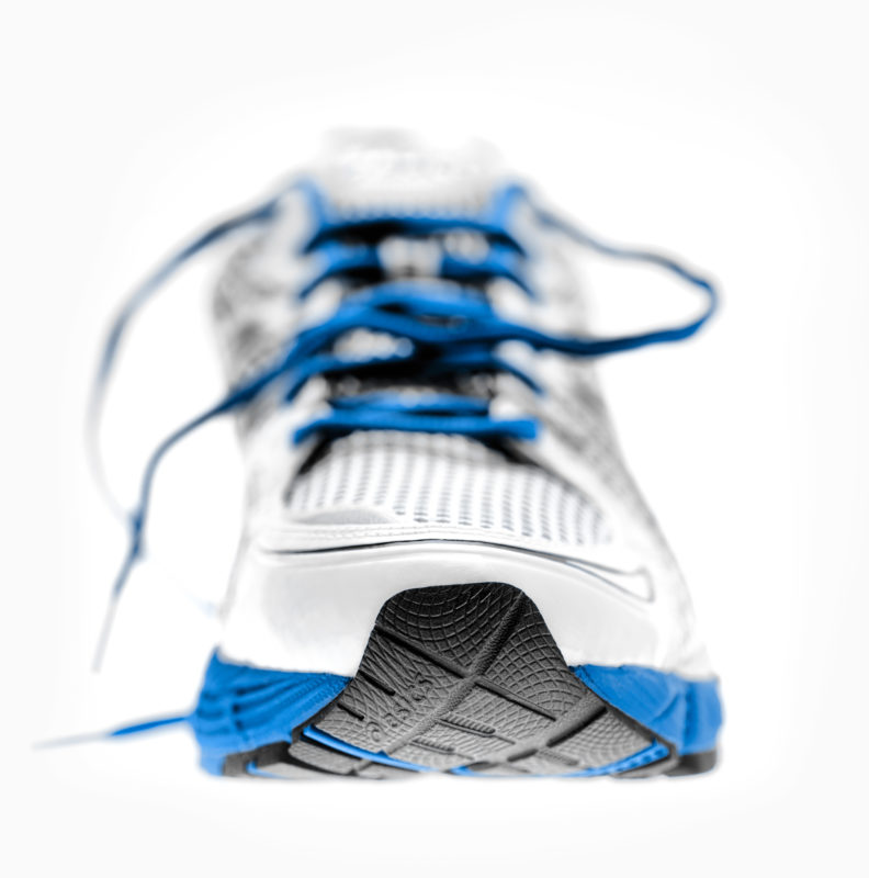 Studio and product photography: The tip of the sole of a running shoe.