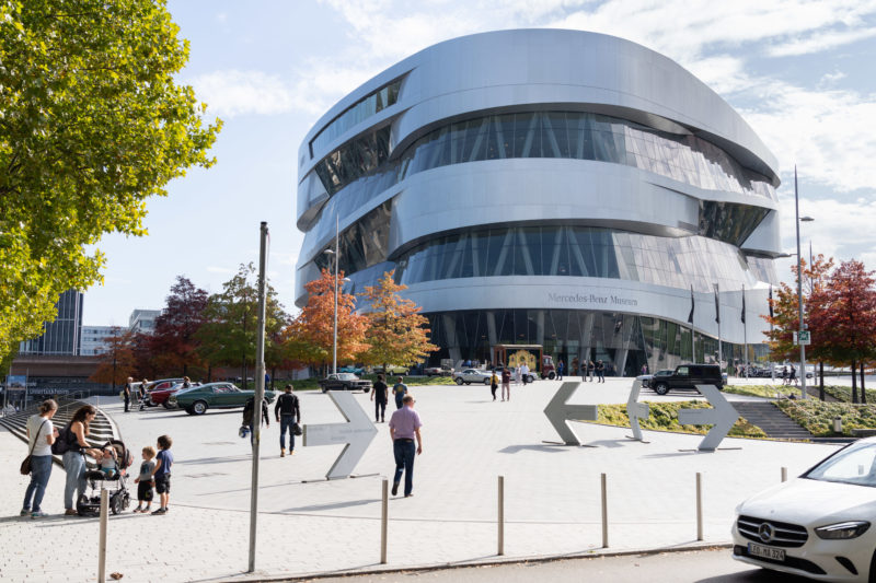Portrait of Stuttgart: The Mercedes-Benz Museum shines in the sun.