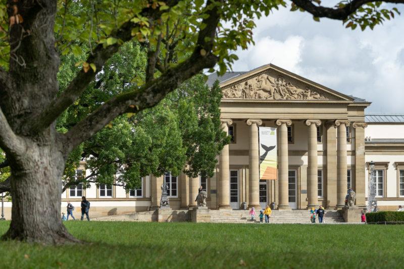 Stadtportrait Stuttgart: Das Naturkundemuseum Schloß Rosenstein im Rosensteinpark mit seinem Säuleneingang.