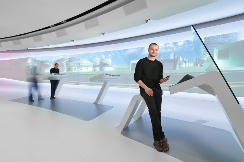 Science photography: Technology photography: Business-Portrait of an employee in the T-Gallery at Deutsche Telekom AG.