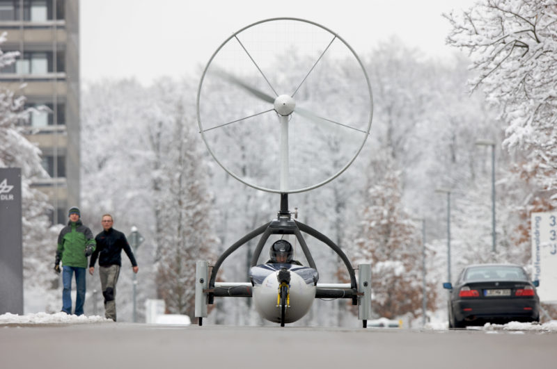 Technology photography: The Ventomibil, a wind driven vehicle of the University of Stuttgart during a test drive. It reaches a maximum speed of 66 percent of the wind driving it on a flat track in a race of different concept cars.