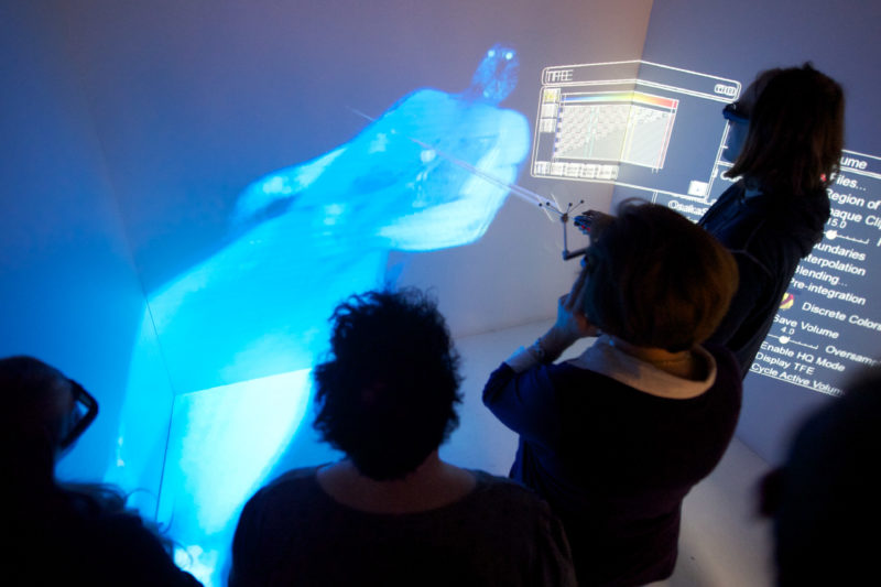 Technology photography: Virtual 3d-display of a human body.