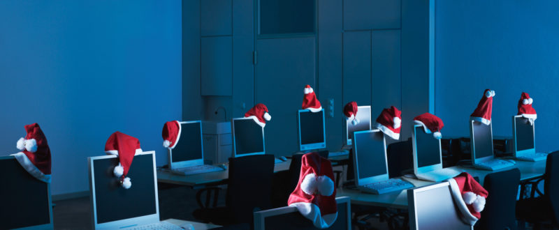 Photomontage with Photoshop: Santas have left their Control Center now celebrating Christmas.